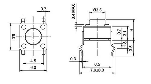 Кнопка KFT-02 6x6x4.3 TCAA